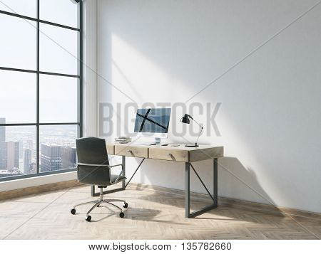 Side view of minimalistic office interior with wooden floor concrete wall window with New York city view and workplace with computer. 3D Rendering