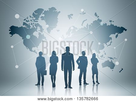 Global social networking concept with map abstract network and businesspeople silhouettes on grey background