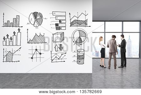 Business charts sketched on concrete wall in unfurnished office with businesspeople New York city view and sunlight. 3D Rendering