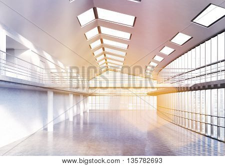 Empty unfurnished office interior with concrete floor railings and panoramic windows with city view and sunlight. 3D Rendering