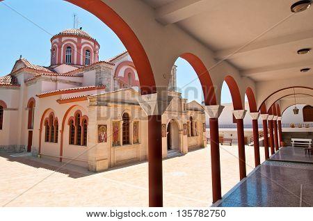 HERAKLION CRETE-JULY 25: Monastery of Panagia Kalyviani on July 25 on the Crete island Greece. The Monastery of Panagia Kalyviani is located 60km south of Heraklion.