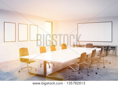 Concrete conference room interior with table chairs blank whiteboard picture frames and city view. Toned image. Mock up 3D Rendering