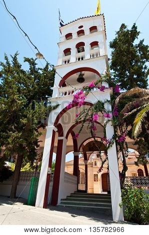 CRETE HERAKLION-JULY 25: The bell tower of the Monastery of Panagia Kalyviani on July 25 on the Crete island Greece. The Monastery of Panagia Kalyviani is located 60km south of Heraklion.