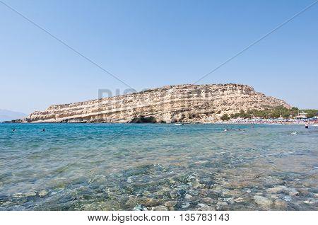 Libyan sea and Matala sandy beach on the Crete island Greece.