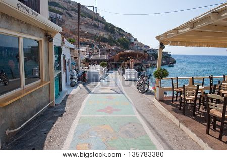 MATALA CRETE-JULY 22: Local restaurant in Matala village on July 222014.Crete Greece.