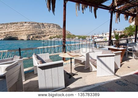 MATALA CRETE-JULY 22: Local restaurant in Matala village on July 222014 on the island of Crete Greece.