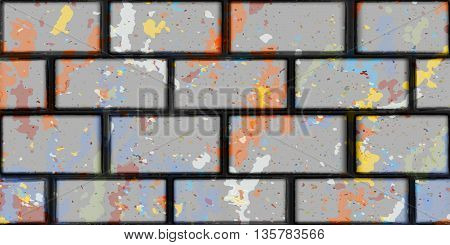 brick gray wall color spots vector background seamless