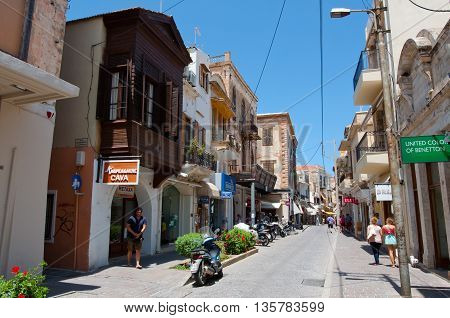 RETHYMNO CRETE - JULY 23:Shopping Arkadiou street on July 232014 in Rethymnon city on the island of Crete Greece. Arkadiou Street is the shopping centre in Rethymnon