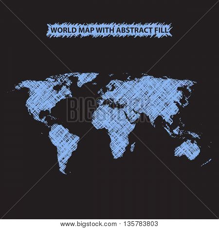 Abstract world map background. World map hatched by lines. Dark background. Bright blue fill. Vector illustration