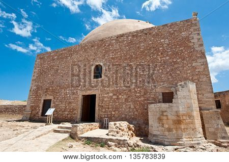 Sultan Ibrahim mosque on the top of the Fortezza. Crete Greece.
