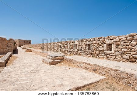 The wall of the Fortezza on Crete Rethymnon city. Greece.
