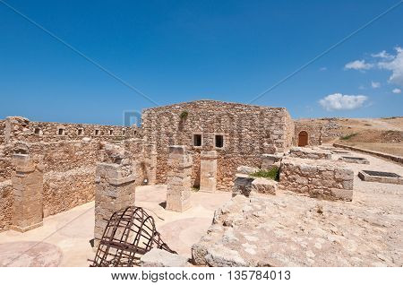 Remains of the Fortezza of Rethymno city. Greece.