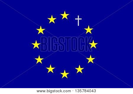 On the blue horizontal rectangle formed a circle of twelve yellow stars and one gray cross. Fantasy on a theme leaving the European Union.