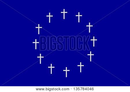 The circle of twelve crosses on gray blue rectangular horizontal surface. Fantasy on the theme of speculation about the disintegration of the European Union.