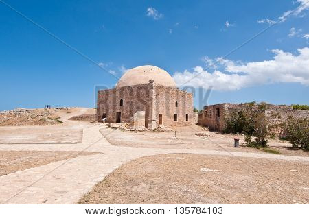 Sultan Ibrahim mosque Inside the Fortezza of Rethymno. Crete Greece.