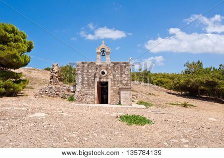 Church of Agia Ekaterini Inside the Fortezza of Rethymno. Crete Greece.