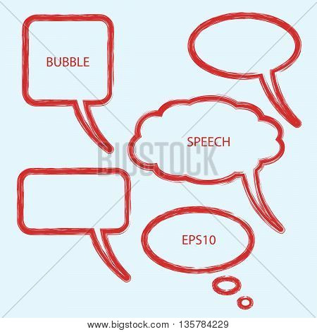 Vector illustration of abstract speech bubbles. Set of bubbles in red color.