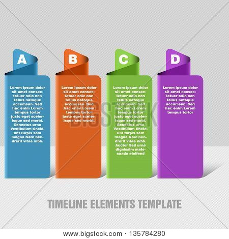 Four steps timeline objects. Abstract folded shape with shadows. Place for text inside shape. Vector illustration.