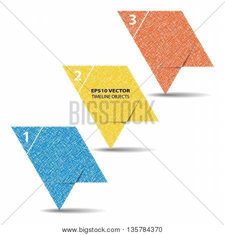 Three steps timeline objects. Abstract shape with shadows. Place for text inside shape. Objects hatched by lines in two directions. Vector illustration.