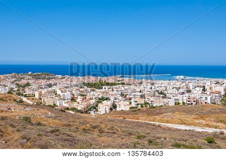 View of Rethymno with Fortezza on the background. Crete Greece.