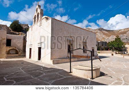 View of Preveli Monastery. Crete island Greece.