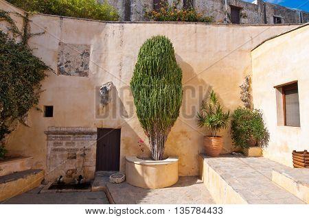 Detail of Preveli Monastery on Crete island Greece.