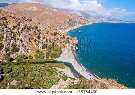View of Preveli beach and lagoon on the Crete island Greece.