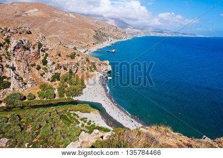 Preveli beach and lagoon located below the monastery. Crete island Greece.