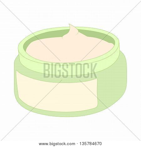 Cosmetic face cream container icon in cartoon style on a white background