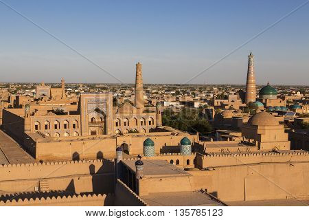 View over the ancient city of Khiva in Uzbekistan.