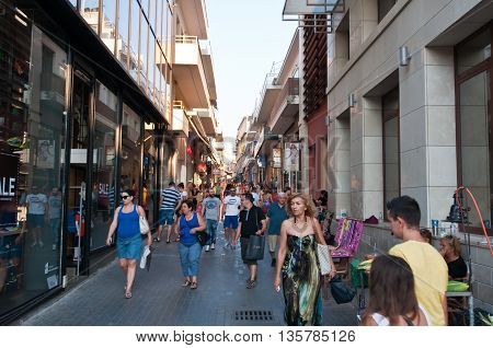 CRETE HERAKLION-JULY 25: Shopping street Dedalou on July 25 2014 in Heraklion on the island of Crete Greece. Daidalou Street is a paved pedestrian area.