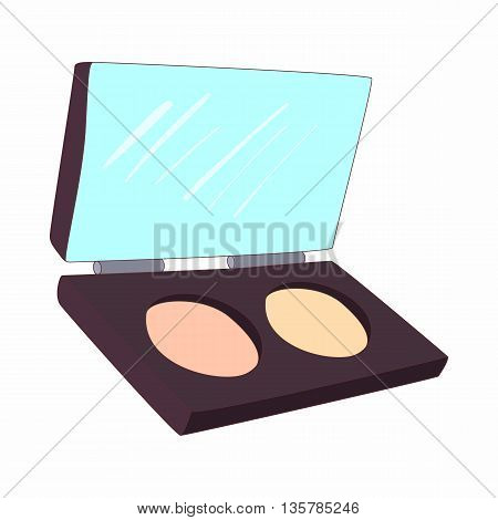 Cosmetic powder in a box icon in cartoon style on a white background