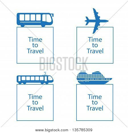 Vector illustration time to travel concept . Bus ship, train, jet travel symbol
