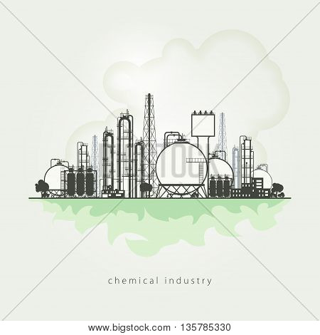 Illustration of a chemical plant or refinery processing of natural resources, or a plant for the manufacture of products. Chemical factory silhouette for industrial and technology design.