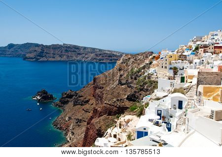 Houses on the edge of the caldera on the island of Santorini Greece.