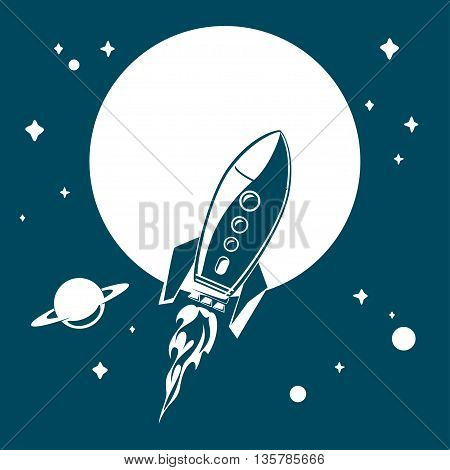 Space rocket flying in space with stars and planets