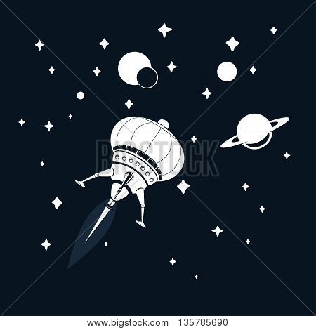 Space rocket flying in space with stars and Saturn