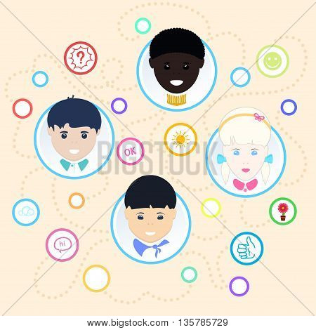 Children face, Children of different nationalities, illustration