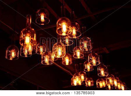 blur vintage clear glass organge light at night
