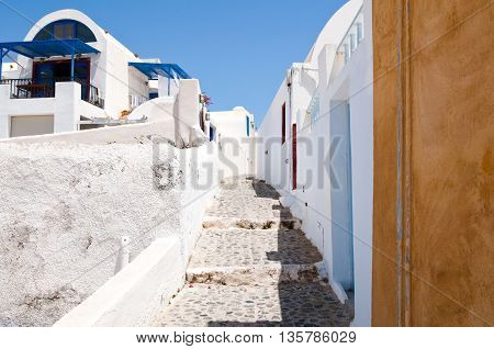 The narrow street on the island of Santorini Oia. Greece.