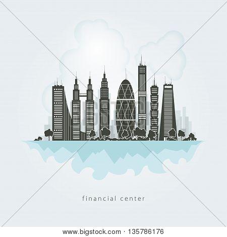 New big city, architecture megapolis city, financial center ,buildings skyscraper