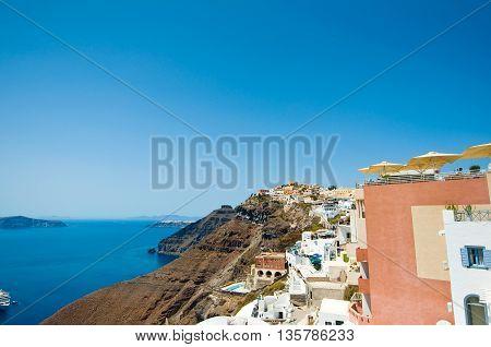 View of Fira on the edge of the caldera. Santorini(Thira) Greece.