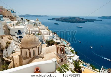 Panoramic view of Fira and volcano on the island of Thera(Santorini) Greece.