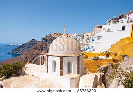Dome of the Orthodox church in Fira on the island of Thera (Santorini) Greece.