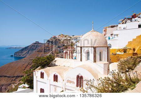 Fira Orthodox church on the edge of cliff on the Thera (Santorini) Greece.