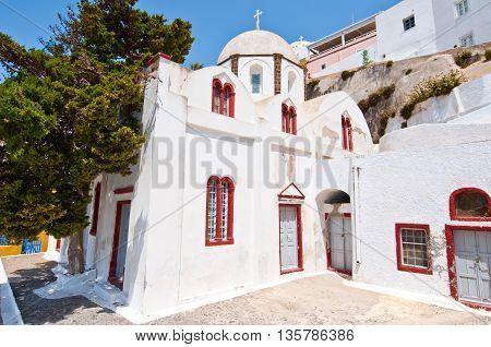 Orthodox church in the capital of Santorini Fira. Greece.