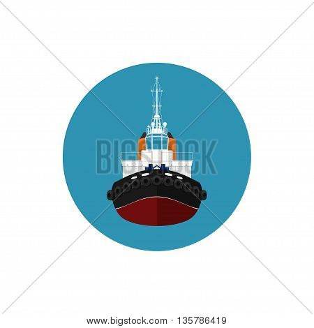 Icon tugboat, a front view of the push boats, icon tow boat for to wage and mooring of other courts