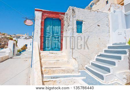 Fira architecture on the island of Thera (Santorini) in Greece.