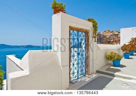 Fira architecture on the island of Thira (Santorini). Greece.