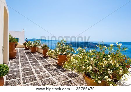 Cosy patio with flowers in Fira town on the island of Thera(Santorini) Greece.